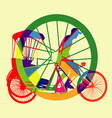 colourful Bicycle Taxi Silhouette vector image vector image