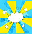 comic action bubble on blue and yellow background vector image vector image