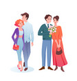 couple people dating set young man woman lovers vector image vector image