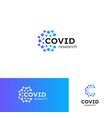 covid19-19 corona vaccine research logo set virus vector image vector image