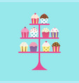 cupcakes on stand vector image vector image