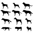Dog silhouette icon pet set isolated animal black