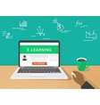 E-learning concept of human hand vector image vector image