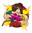 extreme gamer girl vector image vector image