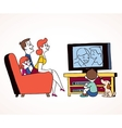 Family watching television vector image vector image