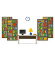 flat bookcases and desk inside house or office vector image vector image