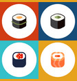 flat icon sushi set of oriental salmon rolls vector image
