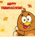 funny turkey bird character looking from a corner vector image vector image