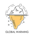 global warming glacier melting isolated icon vector image vector image