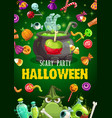 halloween candies potion cauldron and zombie hand vector image vector image