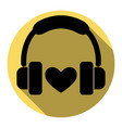 headphones with heart flat black icon vector image vector image