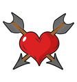Heart and arrow Two arrows pierced sign of love vector image vector image