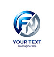 initial letter fn logo template colored blue vector image vector image