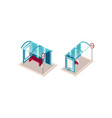 isometric set blue bus station vector image vector image