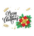 merry christmas greeting card holly gift box new vector image vector image