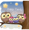 owls family are sitting on a branch vector image