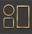 realistic 3d detailed golden frame set vector image vector image