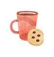 red cup tea and sweet cookie mug fresh vector image