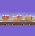 retro city winter street with victorian buildings vector image