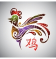 Rooster symbol with hieroglyph vector image vector image