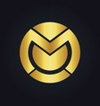round abstract letter m technology gold logo vector image