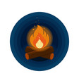 round button icon of bright bonfire with firewood vector image