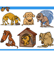 sad stray dogs cartoon set vector image vector image