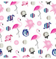 seamless pattern with flamingos and colorful circl vector image
