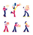 set male and female characters carry and vector image vector image