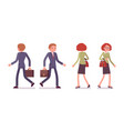 set of male and female office workers walking vector image vector image