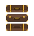 set three suitcases view from above vector image