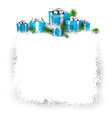 Snow frame with blue gift boxes vector image