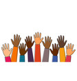 stop racism black lives matter raised up hands vector image