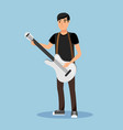 street musician playing guitar cartoon character vector image