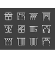 Textile blinds simple white line icons vector image vector image
