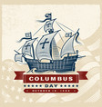 vintage columbus day label vector image vector image