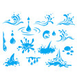 water and drop icons set - blue waves and water vector image
