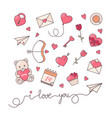 romantic simple objects collection vector image