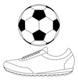 Soccer ball and Running shoes icon vector image