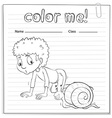 A color me worksheet with a kid and a snail