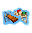 a happy kid diving off a diving board vector image vector image