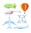 Air Transportation Plane Helicopter and Drone vector image vector image