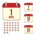 April calendar icons vector image vector image