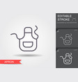 apron line icon with editable stroke with shadow vector image