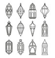 arabic or islamic lanterns set vector image vector image
