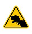 attention dinosaur dangers of yellow road sign vector image vector image