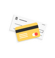 bank check and golden credit card with shadow vector image vector image