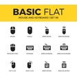 basic set mouse and keyboard icons vector image vector image