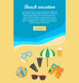 beach vacation banner things necessary for rest vector image vector image