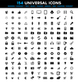 big set 154 universal black flat icons vector image vector image